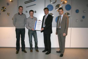 Übergabe des Qualitätsmanagement-Zertifikates ISO 9001:2008 am 16.02.2009 - Handover of the quality management certificate ISO 9001: 2008 on 16th of February 2009