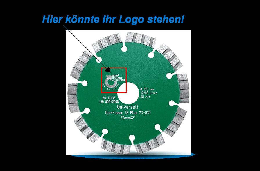 Produktaufmachung Logo Sägeblatt, deutsch - Product design sawblade logo , German