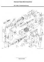 Explosionszeichnung mit Ersatzteilliste Bohrmotor DB 1700 N deutsch Exploded View with spare parts list DB 1700 N German