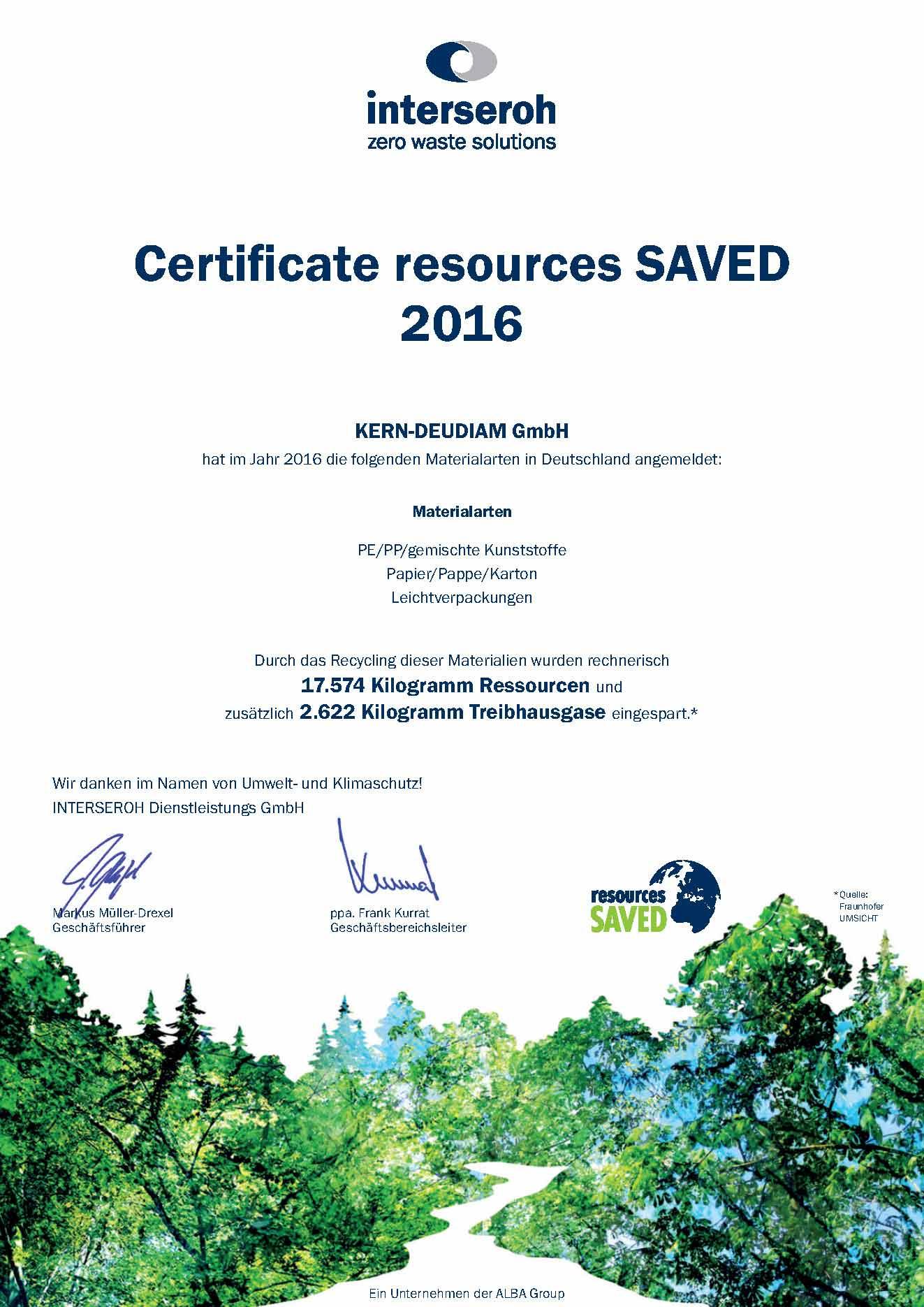 Zertifikat für den Umwelt- und Klimaschutz