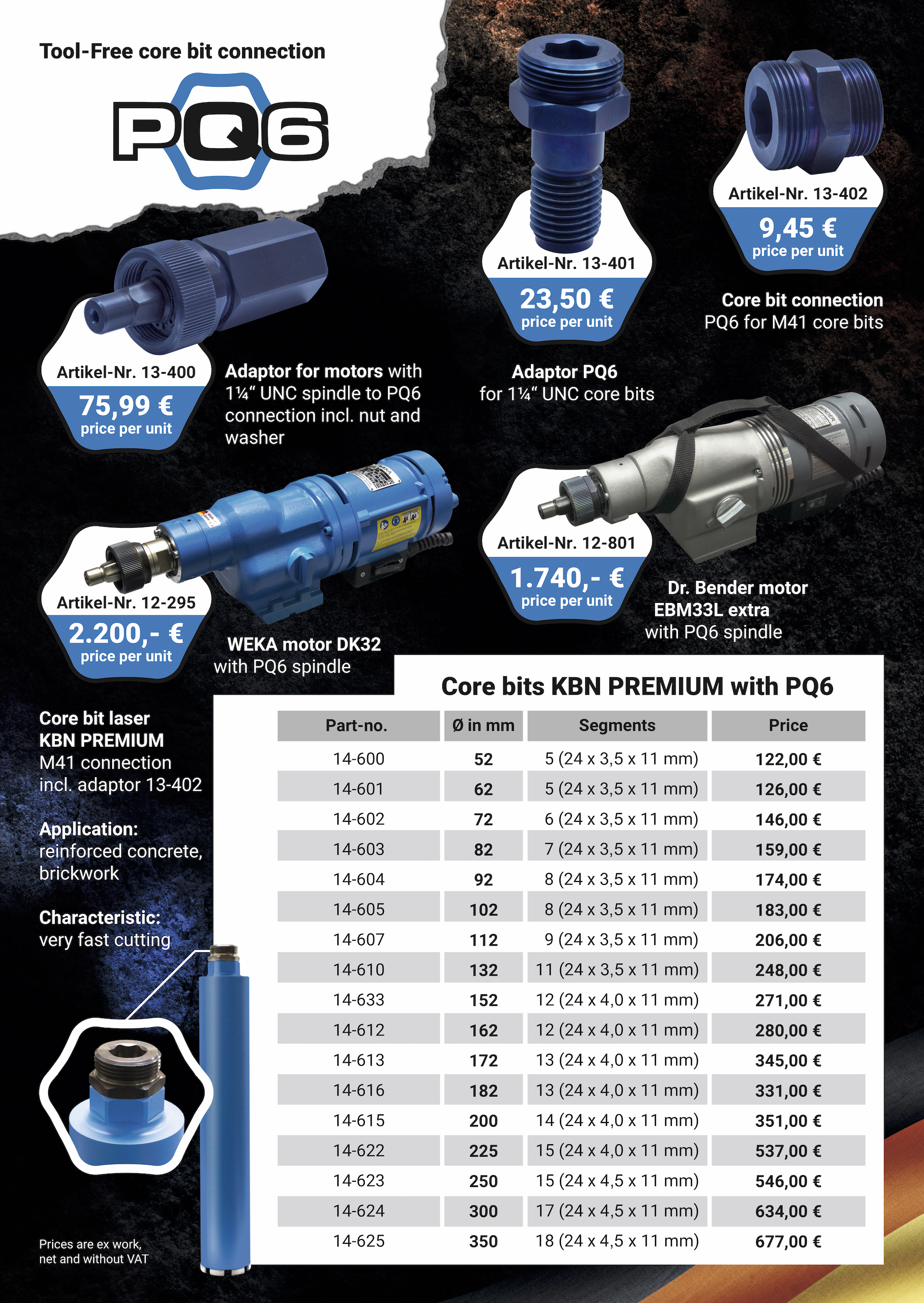 the new hassle-free PQ6 core drill connector for tool-free changes