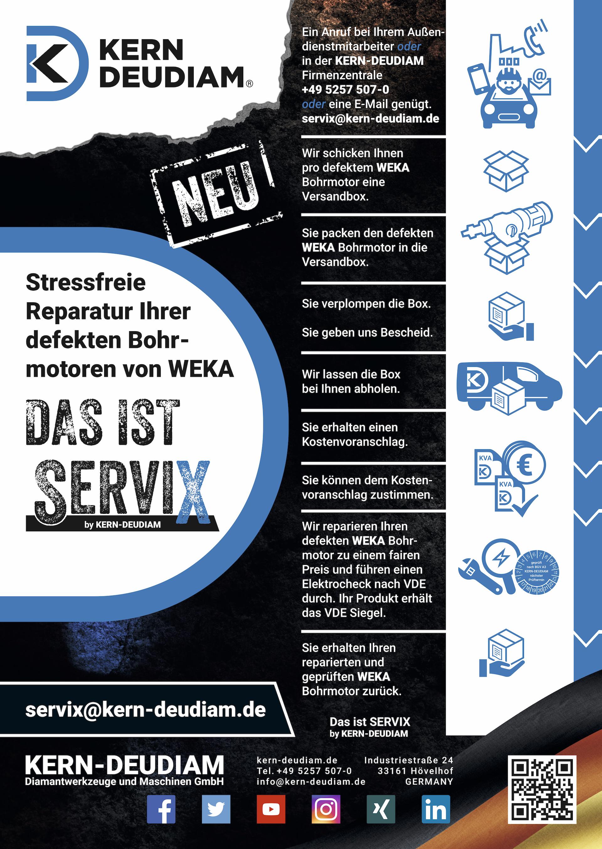 Der neue Reparaturservice ServiX für defekte Bohrmotoren