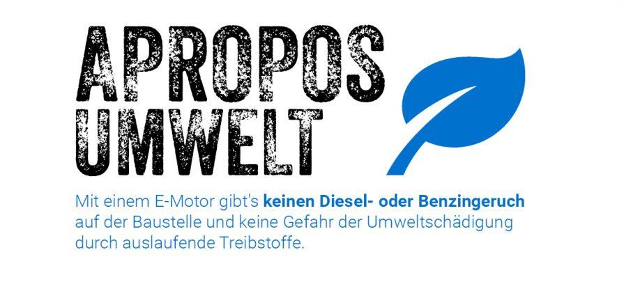 Keinen Diesel- oder Benzin-Geruch und keine Umweltbelastung durch Treibstoffe.