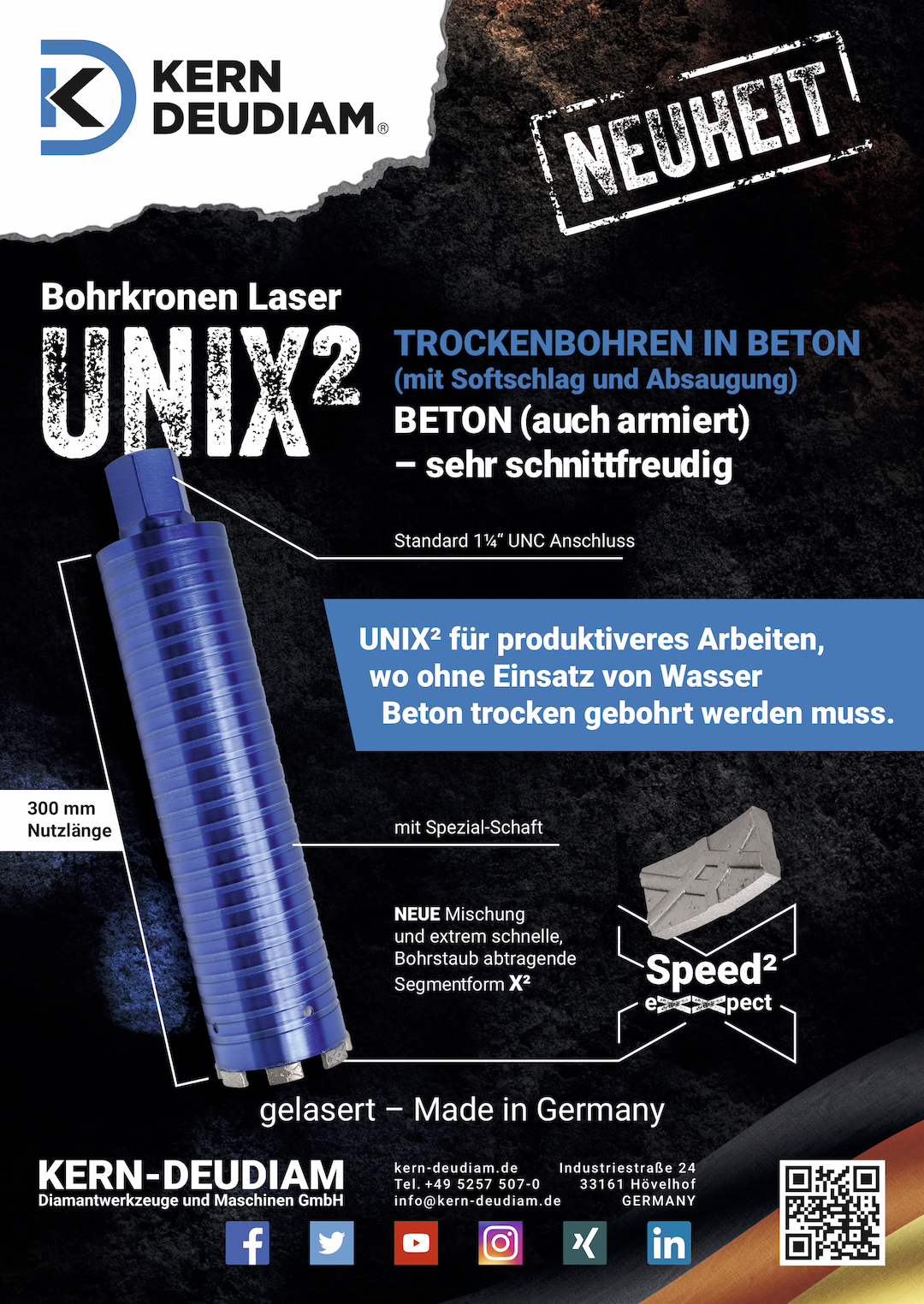 Trockenbohrkrone UNIX² Preise, Vorteile und Informationen