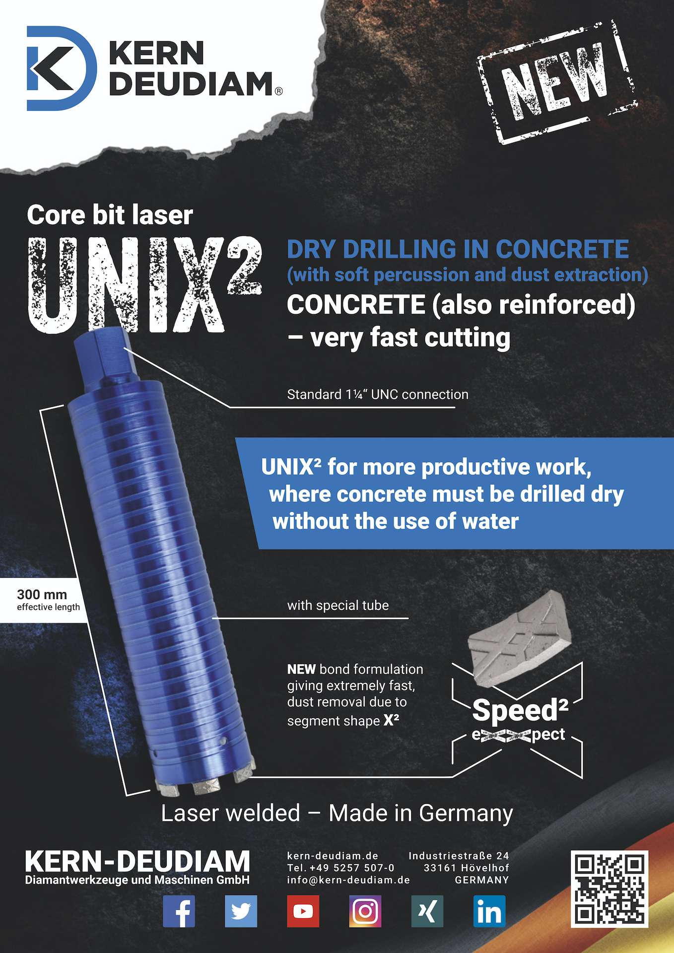 Dry core drill UNIX² prices, advantages and details
