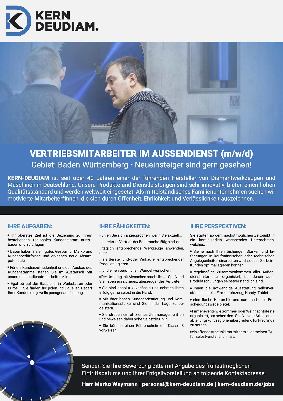 KERN-DEUDIAM Jobs | Mitarbeiter im Außendienst (m/w/d) für Baden-Württemberg