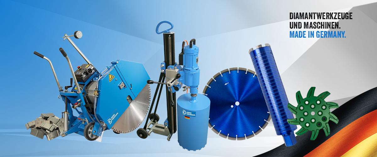 Diamantwerkzeuge und Maschinen aus Deutschland. Bohrkronen Diamantsegmente Fugenschneider Trennscheiben Schleifwerkzeuge.