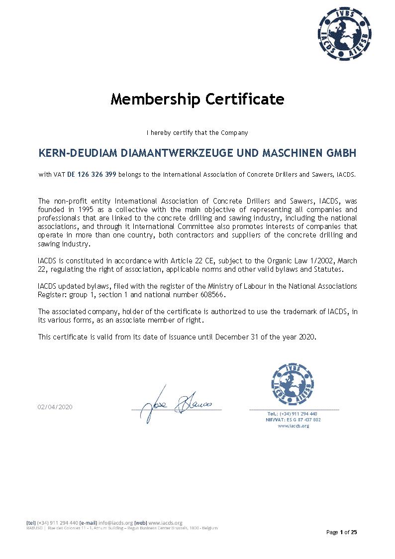 Zertifikat 2020 - Mitgliedschaft IACDS