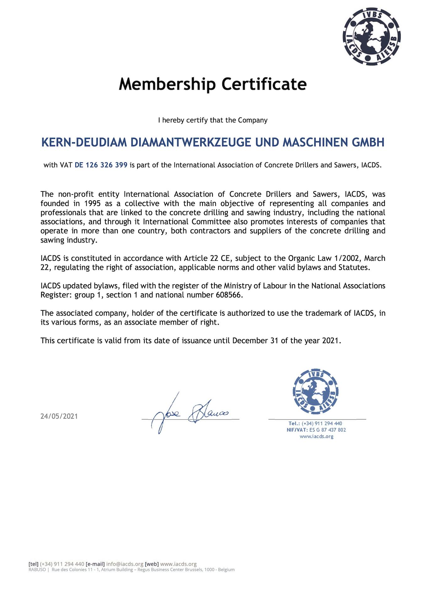 Certificate 2020 - Membership IACDS